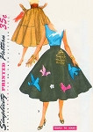 1950s Lovely Circular Skirt with Applique transfer Pattern Very Dita Von Tease Simple To Make Simplicity 4884 Vintage Sewing Pattern