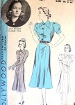Late 1930s Frock Dress Pattern Hollywood Pattern 1471  Six Gore Skirt Dress Two sleeve styles Features Joan Bennett  Bust 34 Vintage Sewing Pattern