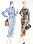 1950s Stunning Suit Pattern Vogue 7444 Nip In Waist Fitted Jacket and Pencil Slim Skirt Bust  30 Vintage Sewing Pattern FACTORY FOLDED