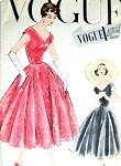 1950s Beautiful Party Evening Dress Pattern Vogue Special Design 4800 Almost Off Shoulders V Neckline and Back, Figure Flattering Full Skirt With Godets Bust 34 Vintage Sewing Pattern
