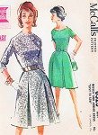 1960s Mad Men Era McCalls 6525 Classy Dress 2 Neckline Styles, Flirty Skirt Bust 34 Vintage Sewing Pattern UNCUT