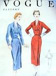 1950s Elegant Slim Dress Pattern Vogue 8401 Draped V Neckline Shaped Midriff Side Pleat Day or After Five Bust 32 Vintage Sewing Pattern FACTORY FOLDED