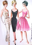 1960s Stunning Evening Dress Pattern McCalls 6571 Ultra Slim or Full Skirt Shaped Low Neckline, Deep V Back Short Cocktail Party or Full Length Formal Bust 32 Vintage Sewing Pattern