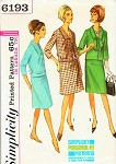 1960s Suit Or Suit Dress Pattern Simplicity 6193 Fitted Jacket Choice of Flared or Slim Skirt Bust 35 Vintage Sewing Pattern