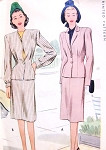 1940s Stylish Suit Pattern McCall 6452 Two  Jacket Styles, Slim Skirt Bust 32 Vintage Sewing Pattern