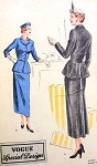1940s Striking Suit Dress Pattern Vogue Special Design 4934 Stunning Notched Collar Jacket Blouse, Back Interest with Flaps Skirt Has Back Flare From Godet Bust 30 Vintage Sewing Pattern
