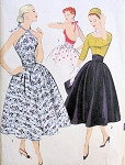 1950s Day or Evening Two Pc Dress Pattern Advance 8343 Unique Halter Top or Scoop Neckline Blouse With Full Skirt and Cummerbund Perfect Party Cocktail Dress Bust 34 Vintage Sewing Pattern FACTORY FOLDED