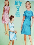 1960s Mod Jiffy Dress Pattern Simplicity 7072 Simple To Sew A Line Dress 2 Style Versions Bust 32 Vintage Sewing Pattern