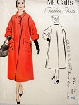 1950s Classy Flared Coat Pattern McCalls Fashion Firsts 9631 Lovely Swingy Coat Wide Cuffs Large Pockets Bust 30 Vintage Sewing Pattern