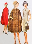 1960s Pauline Trigere Elegant Slim Dress and Cape Coat Pattern McCalls 7063 Stunning Jewel Neckline Empire Dress Daytime or Evening Bust 32 Vintage Sewing Pattern FACTORY FOLDED