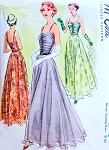 Late 1940s Beautiful Evening Dress Pattern McCall 7667 Eye Catching Shirred Bodice Full Dancing Skirt Glamorous Gown Bust 30 Vintage Sewing Pattern