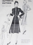 1930s  Coat or Frock Pattern Butterick 8060 Classy 3 Style Versions Flared Skirt Bloused Back  Bust 36 Vintage Sewing Pattern FACTORY FOLDED