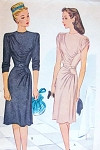1940s Lovely Dress Pattern McCall 6230 Unique Draped Details Daytime or Evening Film Noir Dress Bust 30 Vintage Sewing Pattern