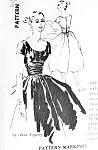 1950s Beautiful Anne Fogarty Evening Party Dress Pattern Spadea 1225 American Designers Lovely Cocktail Dress Low Scoop Neckline Crushed Cummerbund Full Flirty Skirt Bust 34.5 Vintage Sewing Pattern