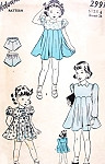 1940s Adorable Little Girls Shirley Temple Style Dress and Bloomers Pattern Advance 2991 Three Sweet Styles Size 6 Vintage Sewing Patterns