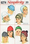 60s Little Girls Mod Hats Pattern Simplicity 6274 Cute Kawaii 4 Styles Hat Size 21- 3/4 Vintage Sewing Pattern