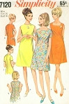 Mod 1960s A Line Dress Pattern Simplicity 7120 Three Neckline Styles  Basic Must Have Dress Bust 36 Vintage Sewing Pattern