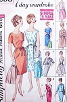 60s Seven Day Wardrobe Dress Pattern Simplicity 4298  Day to Evening Full Skirt or Slim Sheath Crop Jacket Vintage Sewing Pattern Bust 32 FACTORY FOLDED