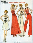 1970s Betsey Johnson Alley Cat Halter Top, Wrap Around Skirt and Wide Leg Pants Pattern Butterick 3511 Bust 32.5 Fast and Easy Vintage Sewing Pattern FACTORY FOLDED
