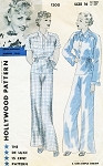 1930s Pajamas Lounging Pattern Hollywood 1200 Joan Blondell Movie Star Evening Wear Pajamas Wide Leg Trousers Vintage Sewing Pattern Bust 34 FACTORY FOLDED