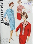 1960s 3 Pc Suit Pattern Butterick 2178  Button Back Over Blouse Slim Skirt 2 Jacket Styles Bust 38 Vintage Sewing Pattern