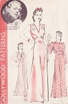 1940 Pin Up Style Nightgown Lingerie Pattern Hollywood Patterns 544 Features Jane Wyman Lovely Slinky Bias Cut Gown 2 Styles  Bust 44 Vintage Sewing Pattern