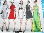 1960s MOD Dress Pattern Vogue Basic Design 2255 Mini or Maxi Dress 5 Style Versions Low Slit Neckline Bust 34 Vintage Sewing Pattern