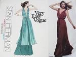 1970s Stan Herman Goddess Gown Pattern Vogue American Designer Original 1774 Plunging V Neckline 2 Styles Bust 32.5 Vintage Sewing Pattern