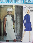 1960s Mod Galitzine Dress Pattern Vogue Couturier Design 1917 Lovely Bias Turn Over Collar A Line Dress Bust  36 Vintage Couture Sewing Pattern