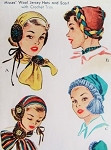 1950 Hats and Scarf Pattern McCall 1572 Wool Jersey Hats and Scarf with Crochet Trim One Size Vintage Sewing Pattern UNCUT