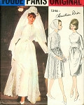 1960s Christian Dior Wedding Bridal Dress Overdress Coat and Veil Pattern VOGUE PARIS ORIGINAL 1346 Romantic Classy  Design 2 Lengths Bust 31 Vintage Sewing Pattern FACTORY FOLDED