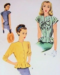 40s Peplum Blouse Pattern Day or Evening Style Slit Neck McCall 6519 Vintage Sewing Pattern Bust 32 Vintage Sewing Pattern