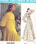 1970s Lovely Jean Muir Dress Pattern Vogue Couturier Design 2664  Day or Evening Length Feminine Style  Bust 32.5 Vintage Sewing Pattern