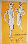 1960s Stunning Estevez Cocktail Evening Dress Pattern Prominent Designer A794 Aluring Slim Figure Hugging Design Low V Back Ruffle Trim Bust 30 Vintage Sewing Pattern FACTORY FOLDED