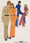 70s Simplicity 9596 Peter Max Era Front Zip Misses Jumpsuit American Hustle Overalls Bust 36 Vintage Sewing Pattern UNCUT  FACTORY FOLDED