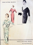 1950s Rare SCHIAPARELLI Cocktail Evening Dress Pattern Vogue Paris Original Model 1256 Stunning Surplice Bodice Low Wide V Neckline Slim Dress Bust 30 RARE Pattern