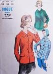 1960s Fitted Jacket Pattern Vogue 5794 Classy Versatile Suit Jacket Blazer Car Coat Bust 38 Vintage Sewing Pattern