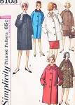 Early 60s Jackie Style Coat Jacket Pattern SIMPLICITY 5103 3 Style Versions Includes Regular or Car Coat Jacket Lengths Bust 34 Vintage Sewing Pattern