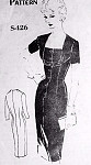 1950s Seductive Cocktail Evening Dress Pattern Spadea 426 International Designer Charles Montaigne of France Figure Hugging Party Dress Bust 40 Vintage Sewing Pattern