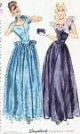1940s Dreamy Evening Gown Pattern Simplicity 2227 Lovely Lace Overskirt Peplum Option and Fingerless Gloves Flattering Design Bust 31 Vintage Sewing Pattern FACTORY FOLDED