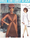 1960s Mod Forquet Sunburst Dress Pattern Vogue Couturier Design 2245 Elegant A Line Jewel Neckline Dress Bust 32.5 Vintage Sewing Pattern