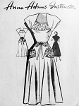 1950s Flirty Dress Pattern Anne Adams 4680 Shaped Neckline Shirred Insert Flared Skirt With Pretty Pockets Bust  34 Vintage Sewing Pattern