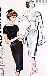 1960s Lovely  Evening Dress Pattern Advance 9622 Button Back Fitted Longer Bodice Figure Flattering Bust 32 Vintage Sewing Pattern FACTORY FOLDED
