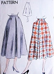 1950s Flared Skirt Pattern Vogue 7018 Front Inverted Pleat 2 Huge Optional Pockets  Waist 24 Easy To Make Vintage Sewing Pattern