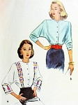1940s Beautiful Blouse Pattern McCall 5049 Dolman Sleeve 2 Neckline Styles Great For Border Fabrics Bust 34 Vintage Sewing Pattern