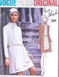 70s Classy Guy Laroche Slim Dress and Scarf Pattern VOGUE PARIS ORIGINAL 2301 Flattering Cowl Neckline Day or after 5 Dress Bust 32.5 Vintage Sewing Pattern