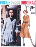 1970s Lovely PATOU Mini or Midi Dress Pattern VOGUE PARIS ORIGINAL 2384 V Neckline Front Button Pleated Day or Evening Dress Bust 34 Vintage Sewing Pattern FACTORY FOLDED