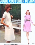 1970s Lovely Belinda Bellville Dress Pattern VOGUE COUTURIER DESIGN 2771 Jewel Neckline A Line Dress Seam Interest Bust 36 Vintage Sewing Pattern UNCUT