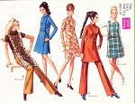 1960s Mod Dress, Jerkin and Pants Pattern SIMPLICITY 8346 Retro Fashions Size 8 Vintage Sewing Pattern FACTORY FOLDED