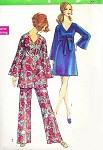 1960s Mod Day or Evening Dress or Tunic and Pants Pattern SIMPLICITY 8549 Bell Sleeves V neckline  Bust 36 Vintage Sewing Pattern FACTORY FOLDED